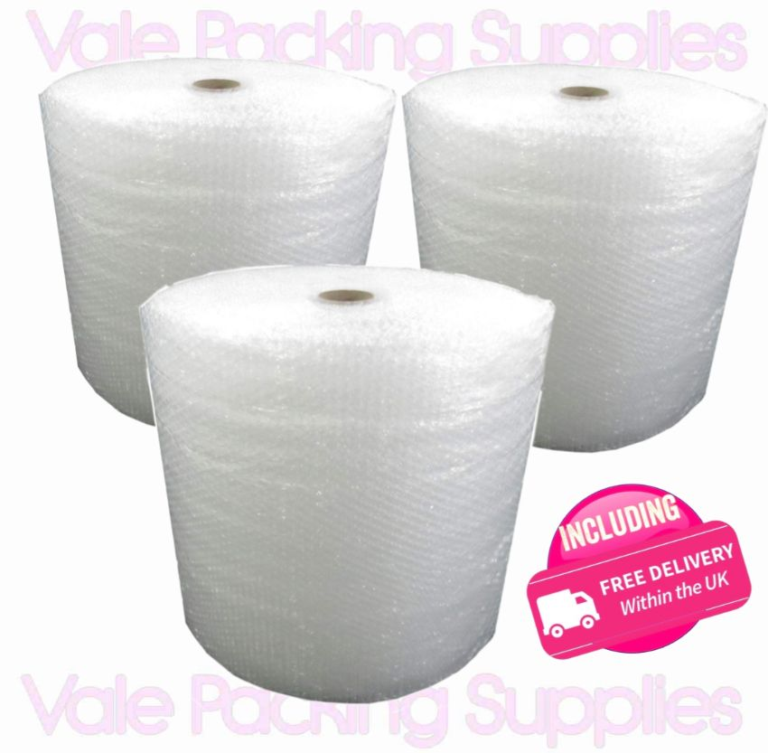 \3 pack of 500mm 100m roll of bubble wrap on white background with pink vale packing supplies logo and pink including delivery symbol\
