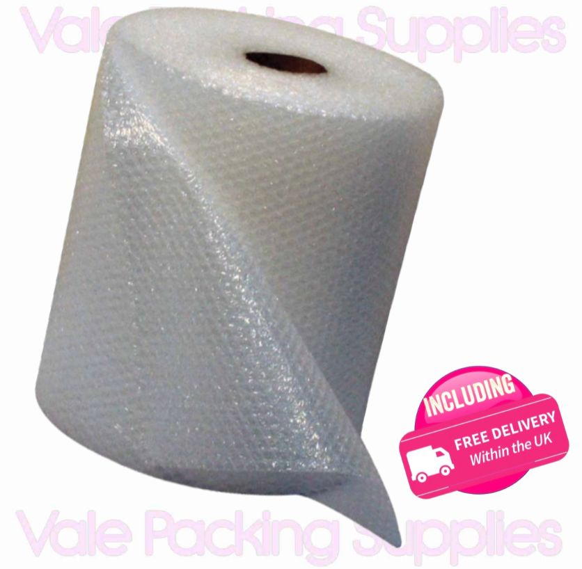 \500mm 50m roll of bubble wrap on white background with pink vale packing supplies logo and pink including delivery symbol\