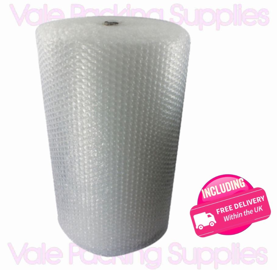 \750mm 50m roll of bubble wrap on white background with pink vale packing supplies logo and pink including delivery symbol\