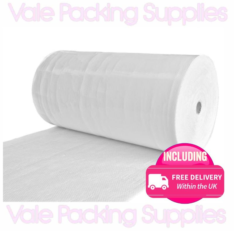 \1500mm x 50m roll of bubble wrap on white background with pink vale packing supplies logo and click and collect shop symbol\