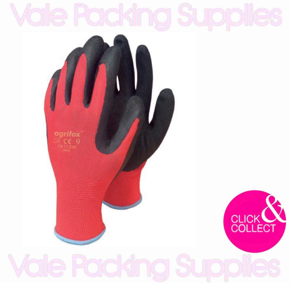 pair of red and black breathable latex coated removals gloves on a white background with vale packing supplies logo and pink click and collect sign