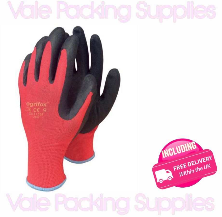 pair of red and black breathable latex coated removals gloves on a white background with vale packing supplies logo and delivery sign
