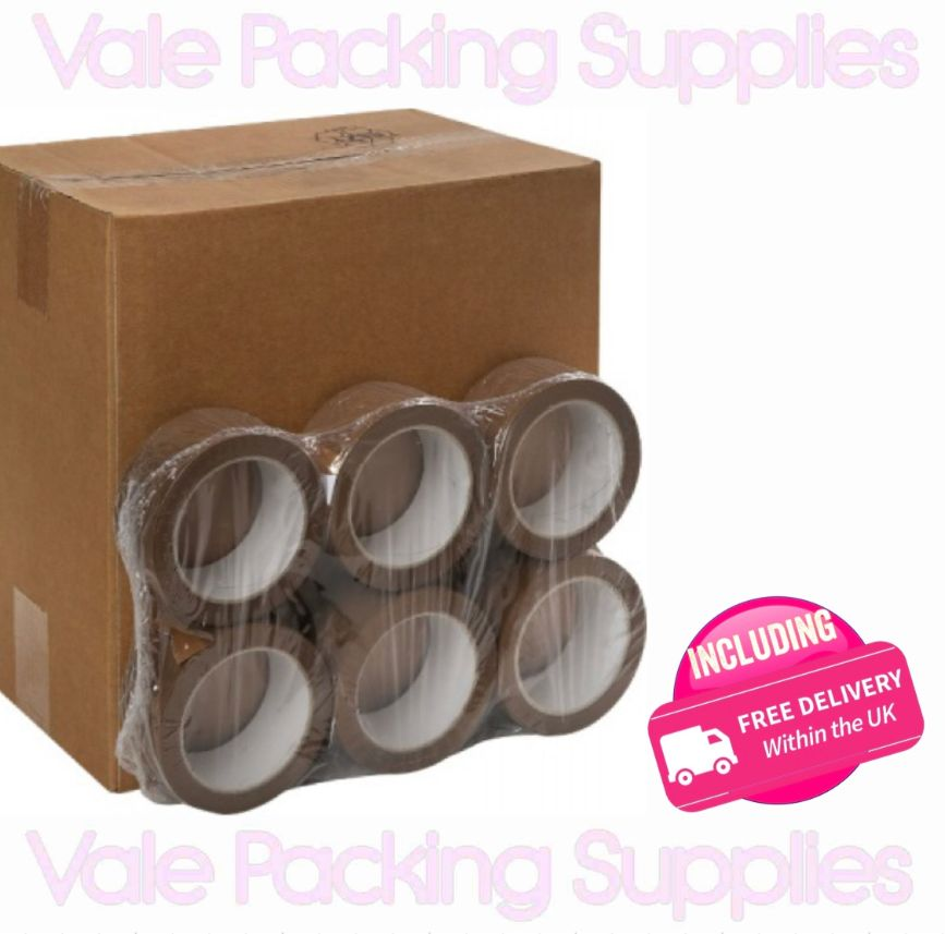 pack of 6 brown tape in front of a box of brown buff solvent tape with vale packing supplies logo on a white background with pink delivery logo