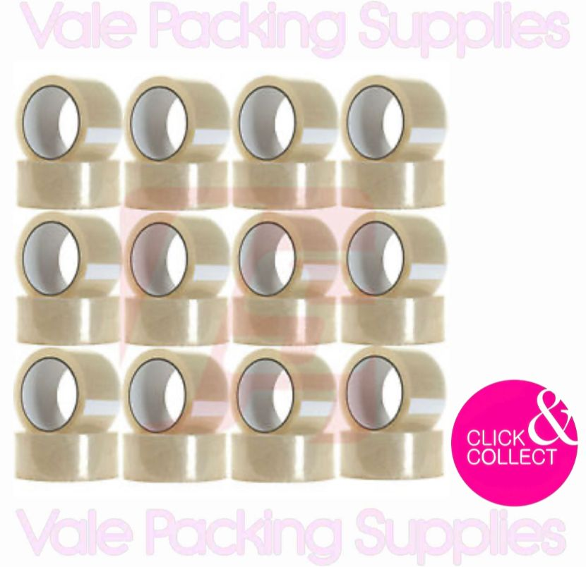 pack of 6 clear solvent tape in front of box with vale packing supplies logo on a white background with pink click & collect sign title=