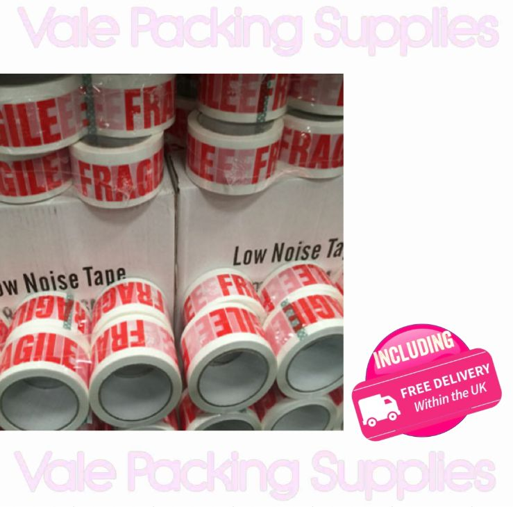 rolls of single fragile packing tapes vale packing supplies logo in front of white box marked low noise tape white background and pink delivery logo