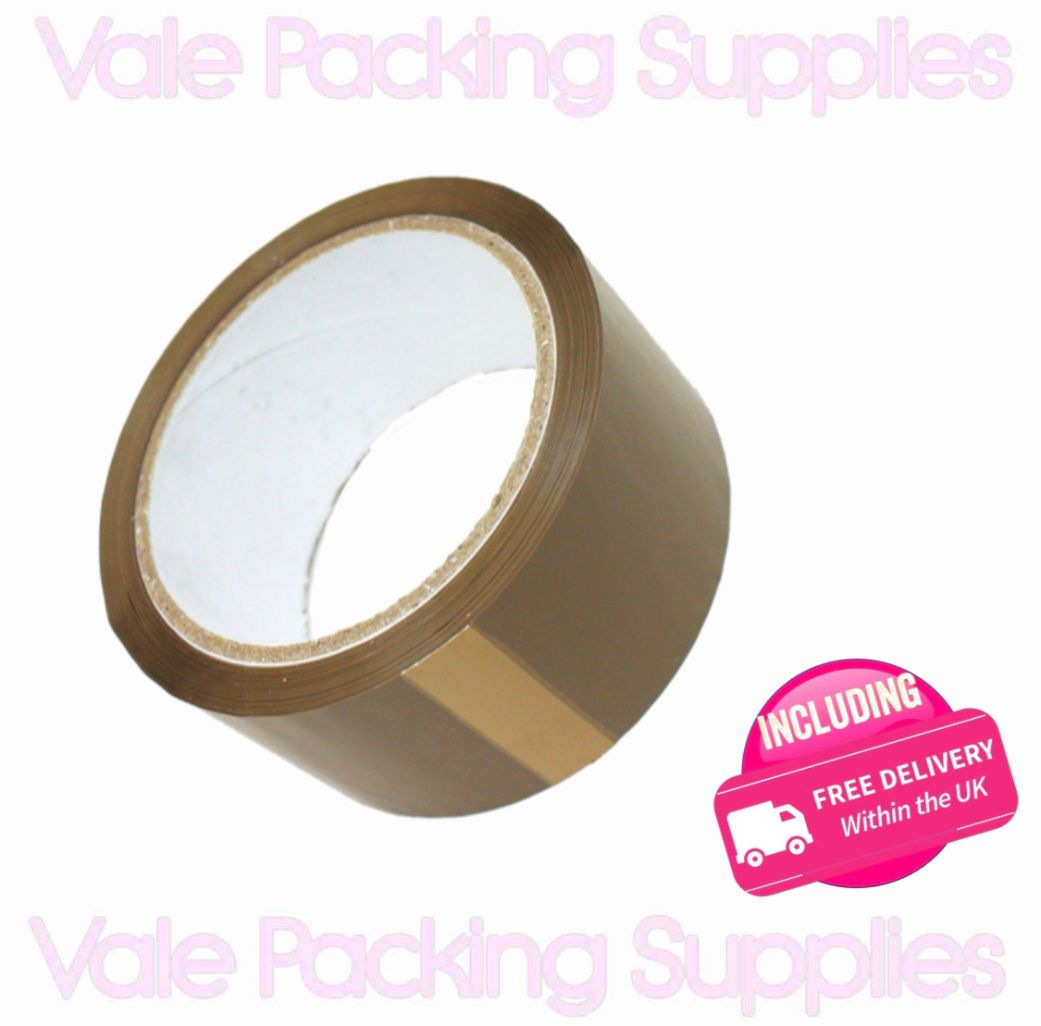 a single roll of brown packaging tape with printed pink text reading small vale packing supplies with pink delivery symbol\