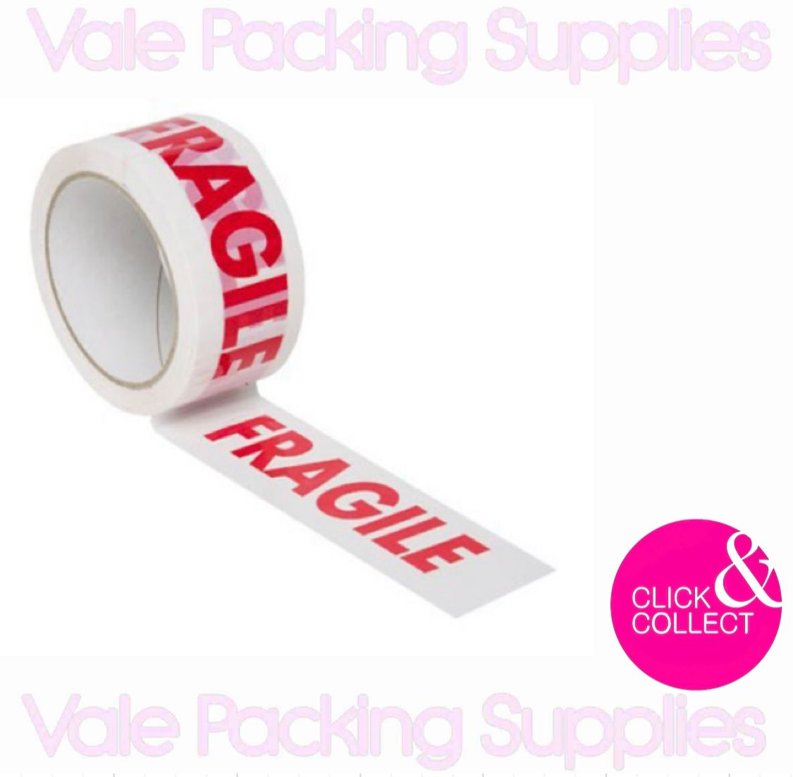 single roll of fragile marked tape with vale packing supplies logo on a white background with pink click and collect symbol