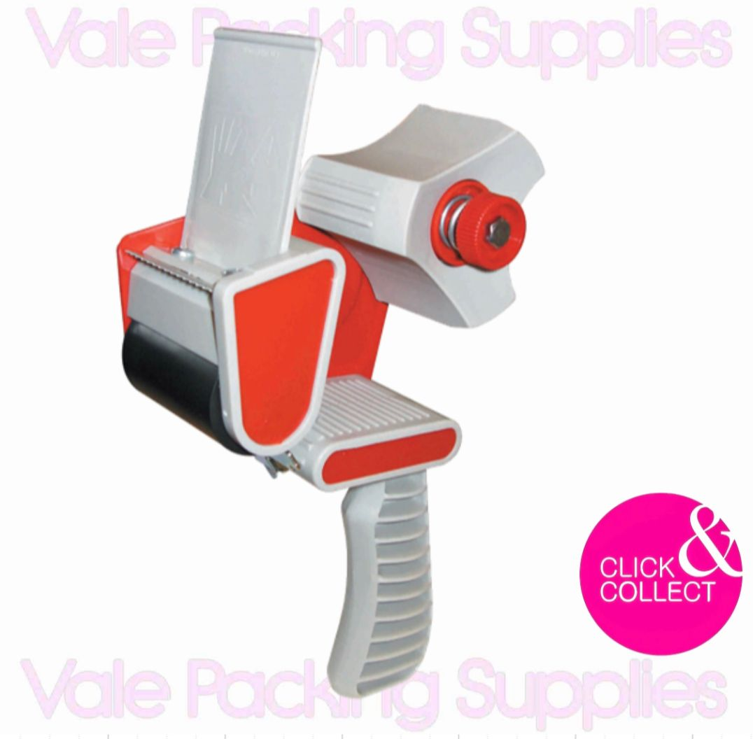 picture of a tape dispenser on a white background with vale packing supplies logs and a pink click and collect sign