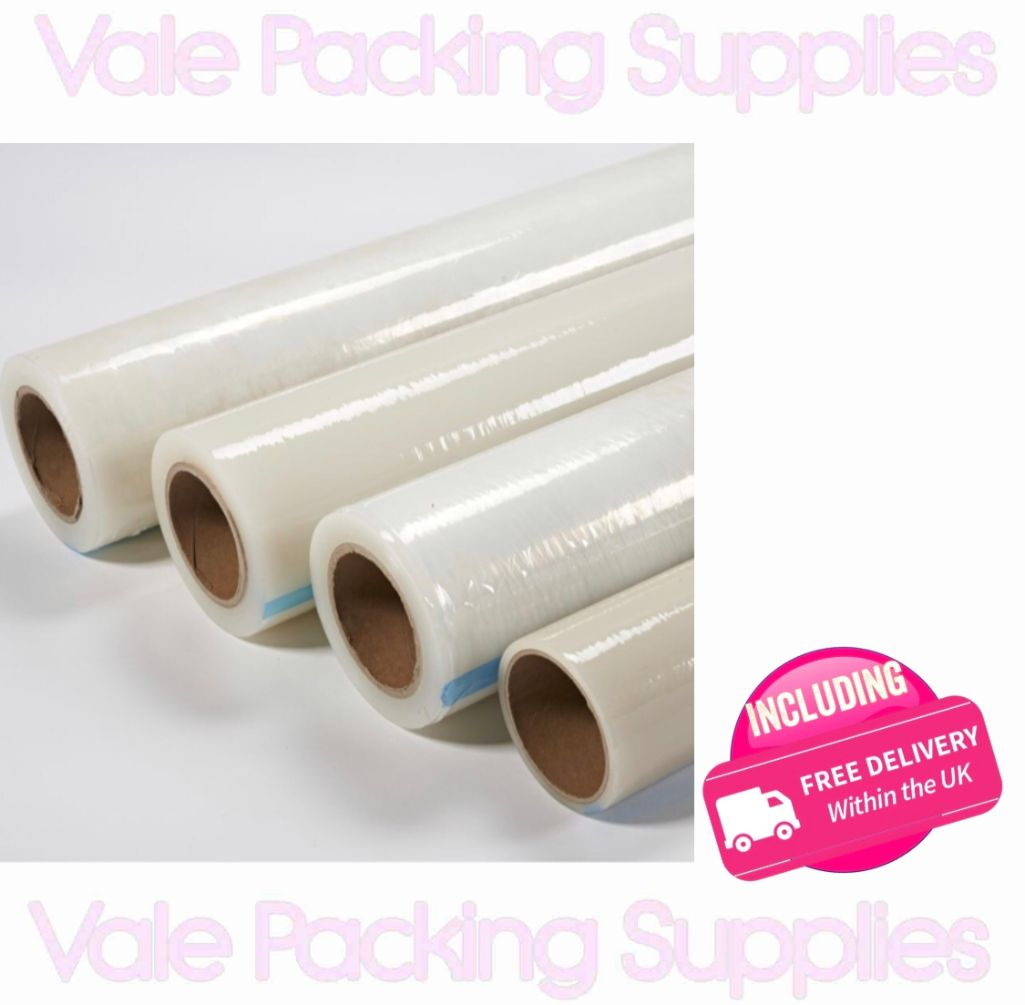 4 cylindrical rolls of clear adhesive plastic carpet protectors on a white background with pink vale packing supplies logos andd delivery sign
