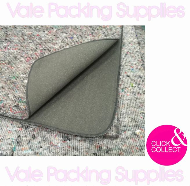 foam backed folded protective floor cover on a white backround with pink vale packing supplies logo and click & collect symbol