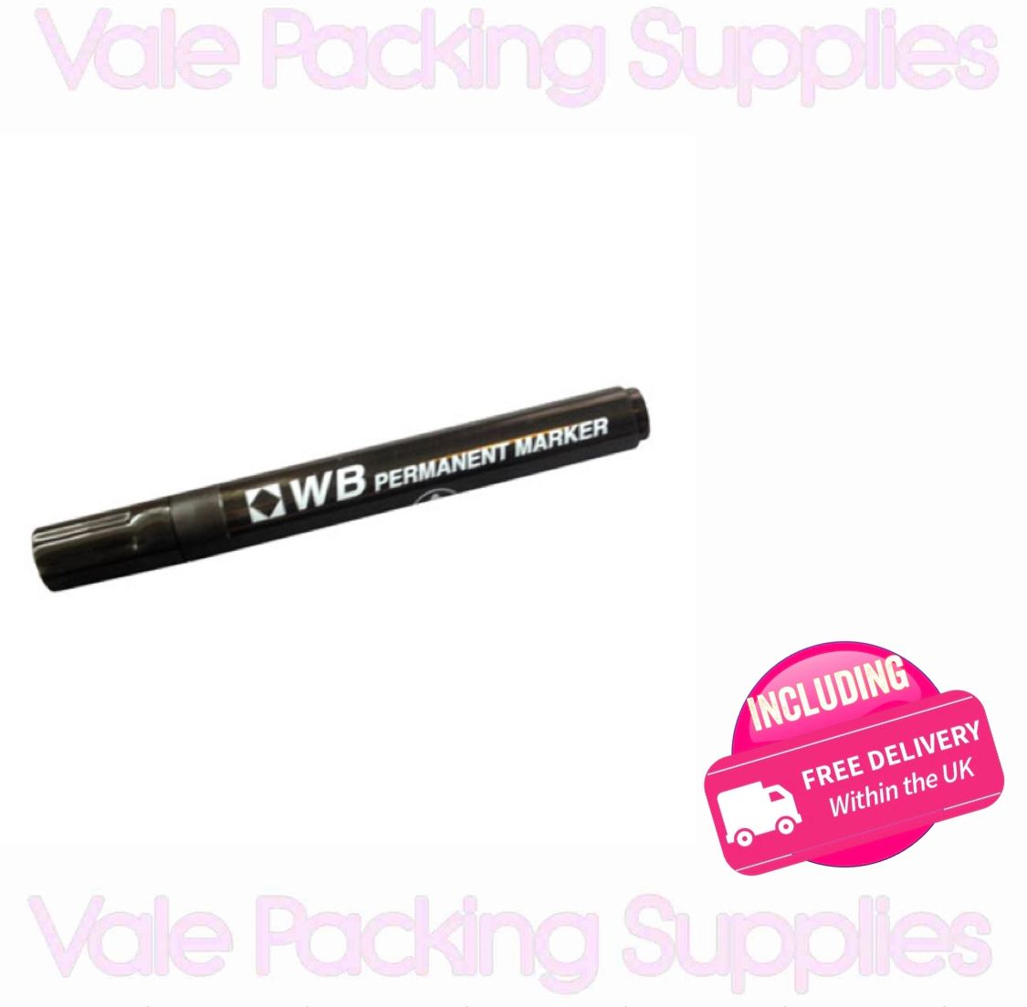 black WB permanent marker pen on a white background with pink vale packing supplies logos and pink delivery sign