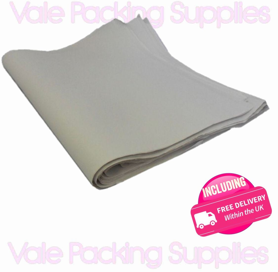 \white folded packaging newspaper on a white background with pink delivery sign and a vale packing supplies logo\