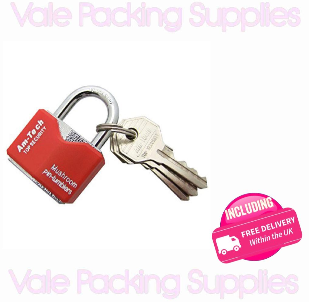 red padlock with keys attached on a white background with pink vale packing supplies logos and a pink delivery sign