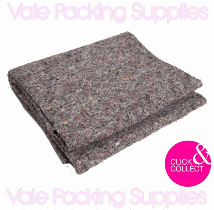 folded single removal transit blanket on a white background with pink vale packing supplies logos and click & collect sign