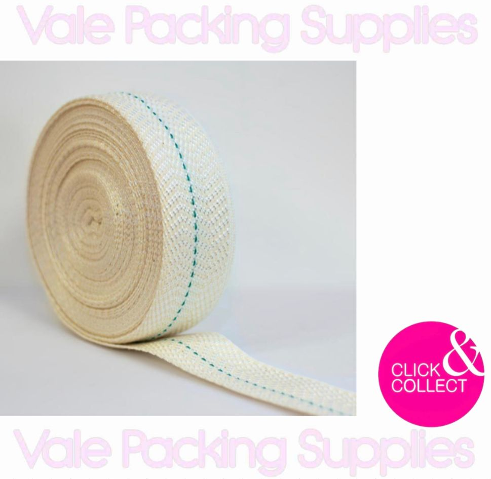 White roll of cotton webbing with blue strip down the middle on a white background with pink vale packing supplies logo and click & collect sign